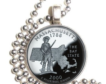 Massachusetts Art Pendant, Earrings and/or Keychain, USA Quarter Dollar Image, Round Photo Silver and Resin Charm Jewelry