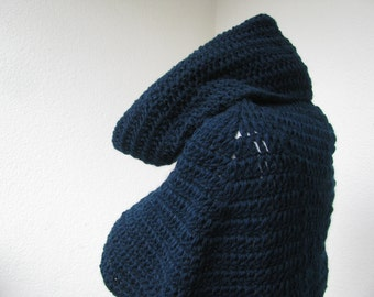 Crocheted navy wool cowl, neckwarmer or mini cape, minimalist modern style cowl MADE TO ORDER you choose color