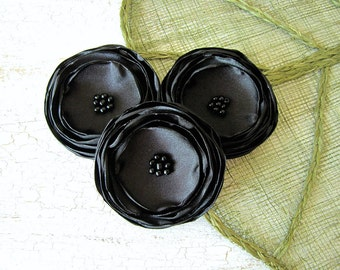 Satin flower appliques, large sew on flowers, fabric flowers bulk, wedding flowers, tuxedo flowers, wedding decor (3pcs)- BLACK BLOSSOMS