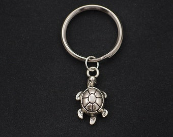 turtle keychain, sterling silver filled, silver turtle charm keyring, animal jewelry, sea turtle keychain, terrapin charm, summer jewelry