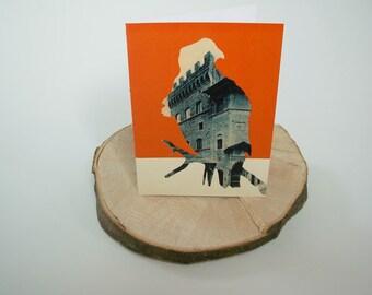 White Tailed Eagle - Orange Greetings Card