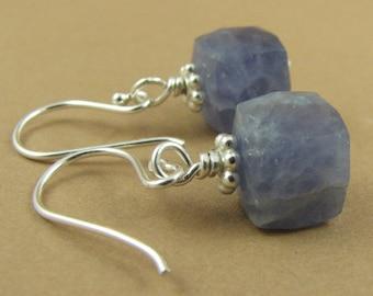 Iolite earrings. Light blue gemstones. Sterling silver 925. Square/cube. Handmade.