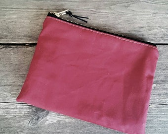 Red Waxed Canvas Pouch // Case // Wallet // Clutch