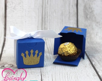 Small Favor Boxes in Royal Blue, Glitter Gold & White Prince - Set of 12 - Baby Shower, Birthday Party, First Birthday - Little Prince