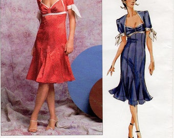Sz 12/14/16 - Vogue Pattern P940 by DONNA KARAN - Misses' Raised Waist Flared Dress with Godets and Tie Sleeves  - Vogue American Designer