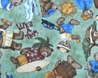 Life's A Trip Quilt Fabric by Teresa Kogut, for South Sea Imports, 100 Percent Cotton, Fabric by the Yard Bear Quilting Material