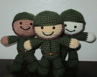 Amigurumi Soldier Doll, Crochet Soldier Doll, Stuffed Soldier, Soldier Plushie, Soldier Toy, Handmade Soldier Doll, Custom Crochet Doll