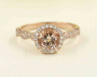14K Rose Gold Engagement Ring.7mm AAA Natural Round Morganite Engagement Set.F G - VS High Quality DiamondRing.14k Rose Gold Engagement Ring