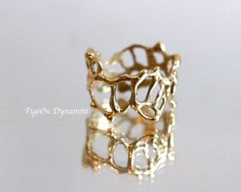 """Statement Ring: Organic Lace Ring """"Jukai"""" Size 6.5 *ready to ship in Brass or Sterling Silver"""