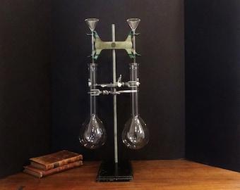 Vintage Lab Stand with Glass Funnels, Long Neck 800 mL Volumetric Flasks , Labasco Burette Holder , Clamps, Retort Stand
