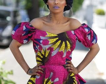 Ankara peplum top, african print top, top, blouse, african print dress, peplum top, peplum, gathered top