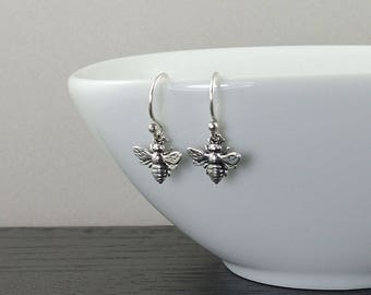 Bee Earrings - Sterling Silver, earrings, dangle earrings, bee jewelry, dainty earrings, cute earrings, bee, bees, bee lover gift