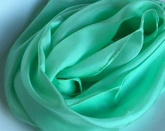 """Inventory Sale - Spring Green Habotai Scarf 11""""x60"""" - Free Shipping"""