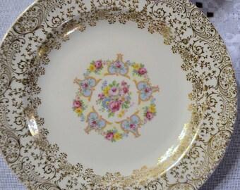 Vintage Royal Santa Rosa Bread Dessert Plate Set of 6 Floral Design 22k Gold Details PanchosPorch