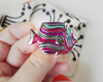 Fish Pin, Free Shipping, See Through Resin, Tropical Fish Jewelry, Contemporary Vintage Jewelry, Silver Purple, Green Blue, Fish Lover Gift