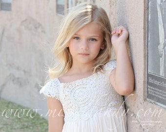 Rustic Flower Girl Dress,Boho Lace Crochet Flower Girl Dress, Rustic Beige/Cream Bohemian Flower girl Dress, Rustic flower girl, Mia Dress