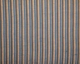 Homespun Fabric   Cotton Fabric   Stripe Fabric    Blue Natural And Olive Ticking Stripe   30 x 44