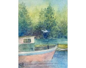Original ACEO watercolor painting - Quiet harbor