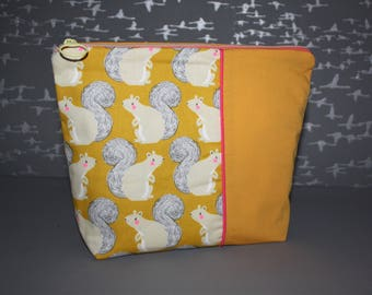 Toiletry bag cotton patterned squirrels!