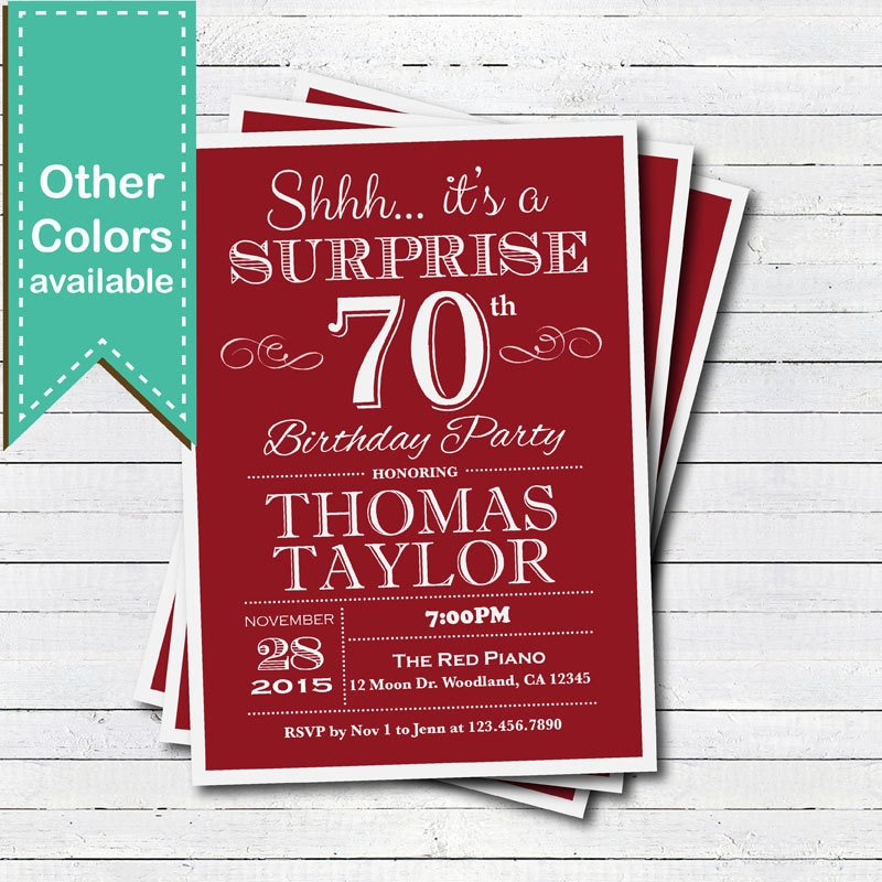 Surprise 70th birthday invitation. Red Adult man woman any