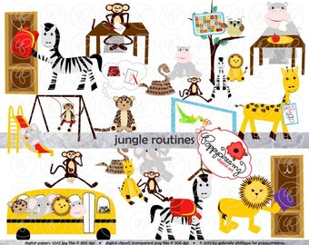 Jungle Routines Class Routine Clipart: (300 dpi transparent png) School Teacher Clip Art Creative Writing Games Rules Routines