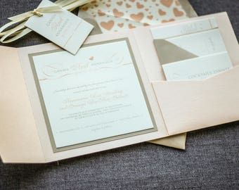 "Blush Invitation Suite, Pink Invitation Suite, Blush Wedding Invitations, Blush Pocket Invitation Set - ""Romantic Flourish"" PF-1L-v2 SAMPLE"