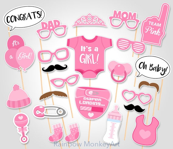 Printable Baby Shower Photo Booth Props Baby Girl PhotoBooth