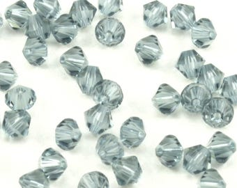 4mm Swarovski Indian Sapphire Bicone Crystals - Swarovski Crystal Bicones - 48 Pcs