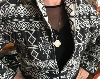 Vintage 90's Aztec Design Gray and Cream Cotton Bolero Jacket Women's Size M