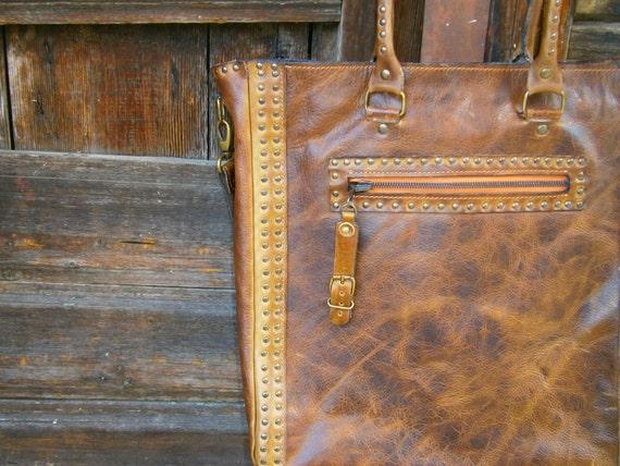 Brown Shoulder Bag,15 inch Laptop Bag, Tote Bag,Handmade Bag, Genuine leather Shoulder Bag,100% made in Transilvania