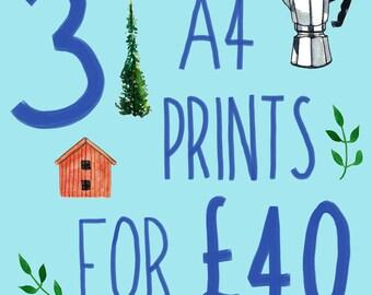 Art Print Set, Bundle Deal, Special Offer, Giclee Prints, Home Decor Wall Art, Living Room Decor, Kitchen Wall Art, A4 Print, Nursey Decor