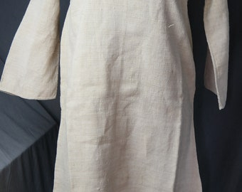 Antique Handloomed Hemp French Night Dress - 19th Century Rustic Chemise - unused chanvre tunic