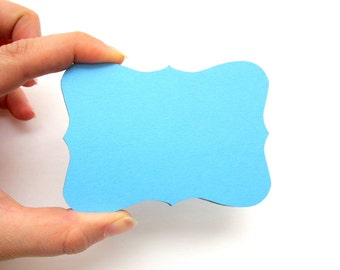 12 Bracket cards, Bracket tags (3.5 x 2.5 inches)  Cardstock die cuts, Aqua Blue or Choose your color A164
