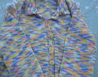 Hand Knitted Cardigan - Gorgeous Yellow Multicoloured for a Girl aged around 10 years.