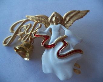 Vintage Signed Danecraft Goldtone/White Angel of Joy Brooch/Pin