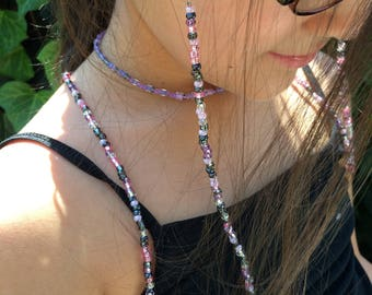 Purple & Pink Beaded Eyeglass Holder, Eyeglass Chain, Handmade To Order, Eyeglass Lanyard, Sunglass Chain, Reading Glasses, Gifts for Her