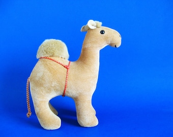 Vintage Camel Stuffed Animal by CAROUSEL BY GUY 1980s Toy One Hump Red Harness Plush Toy Desert Animal