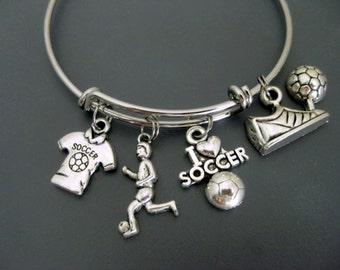Soccer Bracelet / Soccer Bangle/ Soccer Mom Bracelet / Soccer Player / Soccer Coach Team / Soccer Fan Bracelet  / Adjustable Charm Bangle