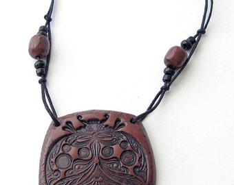 Ladybug Polymer Clay Pendant, Brown Polymer Clay Pendant, Polymer Clay Jewelry, boho pendant, rustic pendant, wildlife jewelry