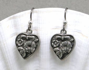 Hand Made Earrings Pewter Hearts With Flowers On Niobium Hooks  B'sue by 1928 Components Assembled by Oscarcrow