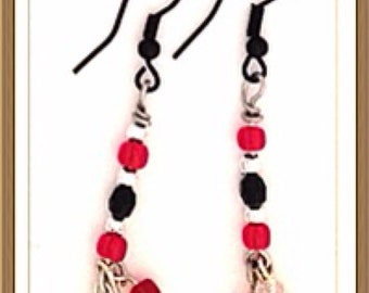 Handmade MWL red, black, silver and pearl earrings. 0130