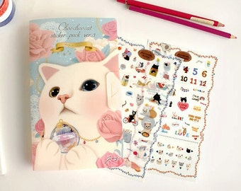 Choo Choo cat adhesive Stickers Set Paper and PVC with folder 8 Sheets SS474
