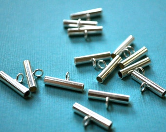 Sterling Silver Plated Bails Set of 24, Silver Bails, Jewelry Supplies, Made in USA Jewelry Supplies, Silver Plated Bails, Necklace Findings