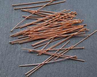 "50 pcs 24g genuine copper head pins - 1.5"" head pins -genuine copper findings"