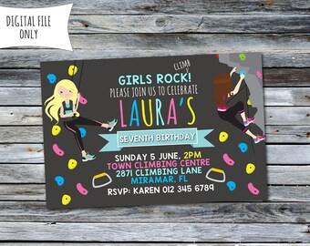 Girls Rock Climbing Invitation / Rock Climbing Birthday Invitation / Climbing Invitation (Personalized) 6x4 Digital Printable File