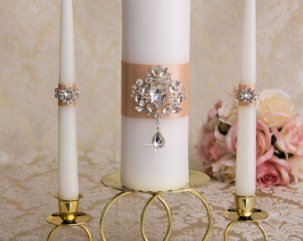 Crystal Unity Candles Set, Wedding Candles, Wedding Unity Candle Set, Wedding Candle Set, Custom Color Wedding Candles