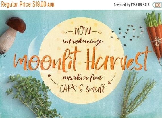 70% OFF Sale Digital Font Moonlit Harvest - Digital Typeface - Hand drawn marker font - Instant Download -