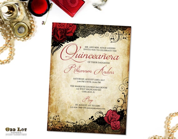 Quinceanera invitations sweet 16 invitations red rose and quinceanera invitations sweet 16 invitations red rose and black lace sweet sixteen party milestone birthday invitations vintage gothic solutioingenieria Gallery