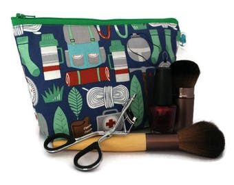Large Cosmetic Bag - Makeup Bag - Accessory Bag - Make up Bag - Toiletry Bag - Gadget Bag -  Jewelry Pouch in Camping Gear