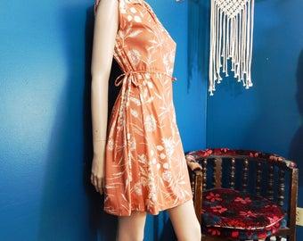 Vintage Peach Floral Dress | Day Dress | Bohemian